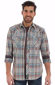 Rock 47 Men's Grey/Turquoise Plaid Snap Shirt Style MRC307M