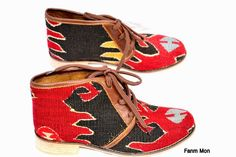 EU 39 US 8.5 Woman kilim booty, leather ankle boots, vintage, booties, slippers, shoes, oxfords, ethnic, bohemian, Nomads, footwear