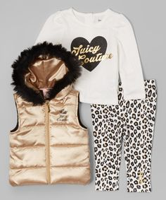 Look at this Gold & Black Puffer Vest Set - Infant, Toddler & Girls on #zulily today!
