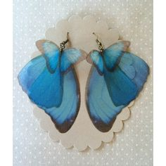 I Will Fly Away Handmade Silk Organza Blue Morpho Butterfly Wings... ($37) ❤ liked on Polyvore featuring jewelry, earrings, blue butterfly earrings, blue butterfly jewelry, earring jewelry, monarch butterfly earrings and butterfly jewelry