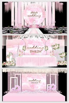 Original beautiful pink marble texture wedding stage renderings#pikbest#decors-models Red Wedding, Wedding Flowers, Wedding Stage Design, Stage Background, European Wedding, Valentines Design, Logo Sign, Wedding Logos, 3d Models