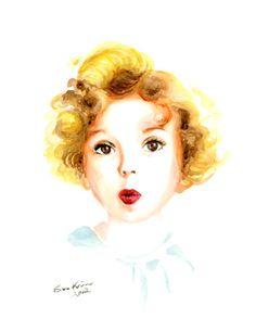 Child portrait - watercolor painting - Shirley Temple. $18.00, via Etsy.