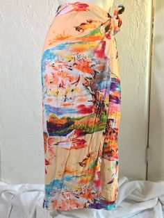 Vtg JAMS WORLD Hawaiian Wrap Skirt / Colorful Abstract Boho Print / Native American Southwestern Sunset Art / 90s JAMS Rainbow Midi Skirt Vintage Clothing, Vintage Outfits, Brush Strokes Painting, Pencil Skirt Casual, Feather Painting, Sunset Art, Bold Prints, Painting Patterns, Op Art