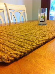 Chunky crocheted table runner