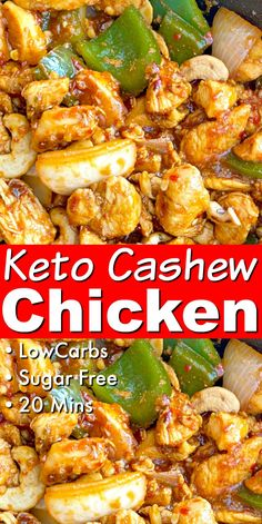 keto dinner recipes Keto Cashew Chicken - Easy low carb chinese food recipe - only 20 minutes! Serve on lettuce wraps and drizzle with hot sauce for a light, healthy lunch or dinner Poulet Keto, Low Carb Chinese Food, Whole30 Chinese Food, Cashew Chicken, Chicken Sauce, Orange Chicken, Keto Chicken, Grilled Chicken, Low Carb