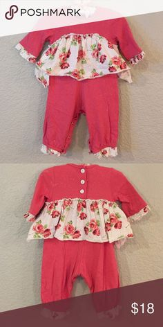 Baby Nay one piece outfit 3m Baby Nay one piece outfit with sparkles and ruffles. Coral color. Worn a couple times. Matching 12 M outfit also listed if you're trying to dress siblings. Smoke free home. Baby Nay One Pieces Bodysuits