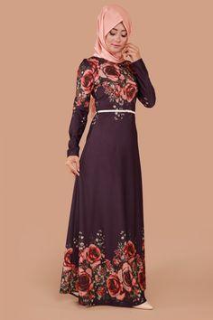 Gözde Gül Desen Kemerli Elbise Mürdüm Ürün kodu: BNM00222 --> 79.90 TL
