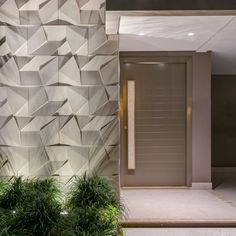 Discover recipes, home ideas, style inspiration and other ideas to try. Exterior Wall Design, Front Door Design, Facade Design, Modern Entrance Door, House Entrance, Bungalow House Design, Modern House Design, Decorative Stone Wall, Stone Wall Design