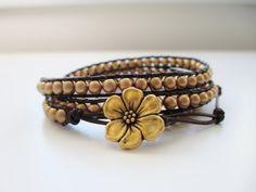 Triple Wrap Gold Goddess Bracelet  Gold Czech by JulieEllynDesigns, $56.00