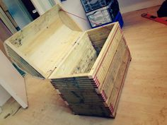 """""""NightFire"""" Outdoor storage chest for BBQ equipment. Reclaimed decking, Edelrid cord (4mm static) 76 x 45 x 73"""