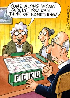 Humorous birthday card by Paperlink Come along vicar! Surely you can think of something! F C K U Birthday card with a funny cartoon by Clive Goddard showing a v