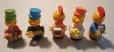 5 Wooden Hand Painted Cupcake Toppers Musical Chicks #Unbranded