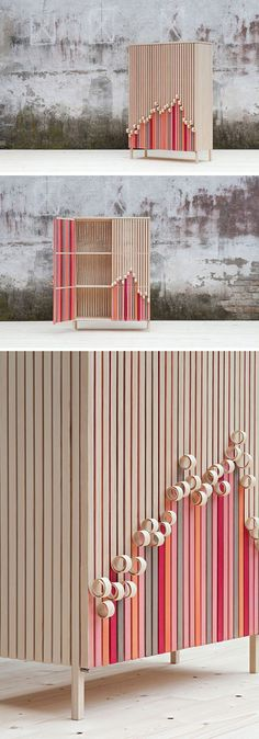 Swedish design firm Stoft Studio, have created the 'Whittle Away' collection that includes a free-standing cabinet and a wall-mounted cabinet, with wood facades that appear to peel away to reveal the colorful form underneath. #ModernFurniture #Cabinets #FurnitureDesign