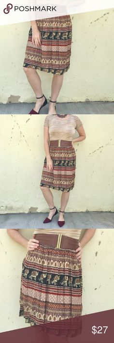 """BOHO ELEPHANT Full SKIRT red black print  midi M/L New with tags! Full midi skirt in a boho India ELEPHANT PRINT! Red Black and Tan striped pattern with wide elastic waist band that ranges from 12"""" to 17"""" flat across. 24"""" long. Fully lined!  (929) Skirts Midi"""