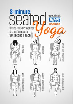 3 Minutes Office Friendly Seated Yoga Workout fitness how to exercise yoga health healthy living home exercise tutorials yoga poses exercising self help exercise tutorials yoga for beginners. >> Find out more at the image link Yoga Beginners, Workout For Beginners, Fitness Workouts, Yoga Fitness, At Home Workouts, Yoga Gym, Fitness Memes, Fitness Tips, Business Yoga