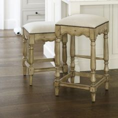 Marlow Counter Stool - Backless Counter Stool With Aged Driftwood, nickel nail heads, linen fabric