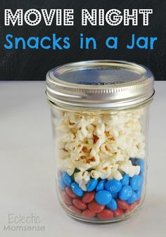 Movie Night Snacks in a Jar- Captain America inspired, perfect for a superhero birthday party.