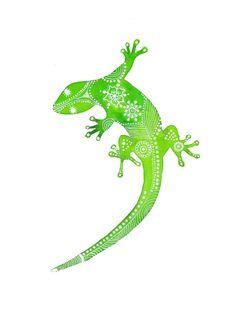 Gecko vert d'archives Art Print par MagaMerlina sur Etsy