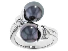 9.5-10mm Cultured Tahitian Pearl Rhodium Over Sterling Silver Bypass Ring