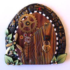 Steampunk Fairy Door Pixie Portal by Claybykim on Etsy, $24.00