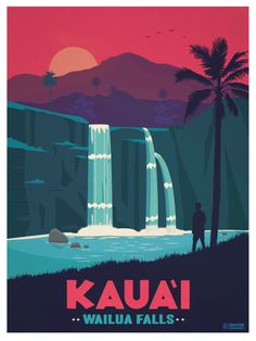 Kaua'i Poster by IdeaStorm Studios ©2016. Available for sale at www.ideastorm.bigcartel.com
