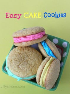 Great way to spruce up a cake mix. Easy Cake Cookies  #DIY