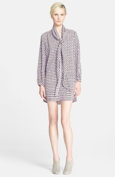 MARC JACOBS Print V-Neck Tunic Dress with Detachable Scarf on Vein - getVein.com/download