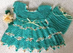 Easter Crocheted Teal Vintage Look Infants by SewTouchingDesigns
