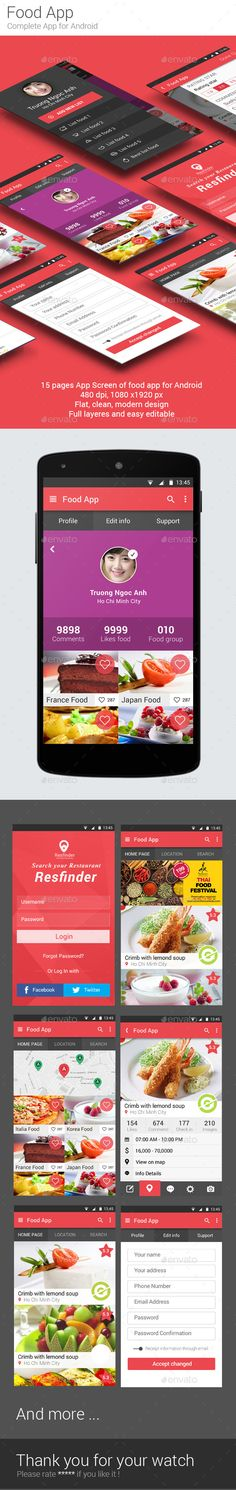 Food App User Interface Template PSD #design #ui Download: http://graphicriver.net/item/food-app/9369266?ref=ksioks