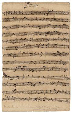 Bach, Johann Sebastian (1685-1750) The Manuscript 'Taille' [Tenor Oboe] Part For The Sacred Cantata Bwv 174 'Ich Liebe Den Höchsten Vom Ganzen Gemüthe'