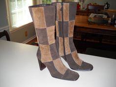 Fall Suede Checkerboard Boots Size 8.5 by by sistersvintageattic