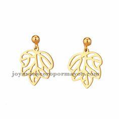 pendientes de hojo arbol dorado en acero inoxidable -SSEGG954310