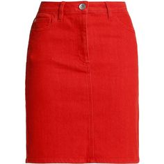 Love Moschino Denim mini skirt (€115) ❤ liked on Polyvore featuring skirts, mini skirts, red, denim pencil skirt, red pencil skirts, love moschino, red skirt and denim skirt