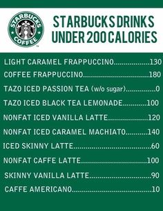 I'm is a double tall skinny vanilla latte!!        Some other great Starbucks drinks for under 200 cal