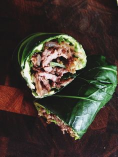 AIP Collard Green Wrap with Steak, Wild Mushrooms, Avocado, Onions