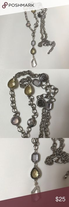 LONG Chico's Necklace Silver with mirrored, yellow, and diamond beads.  Beautiful and light weight. Measures 42 inches total & can be adjusted. Jewelry Necklaces