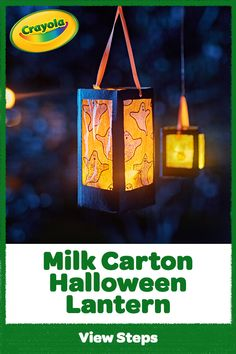 If you've got it, haunt it! Upcycle a milk carton into a ghostly good DIY Halloween lantern that glows indoors or out. Projects For Kids, Art Projects, Crafts For Kids, Arts And Crafts, Paper Crafts, Diy Crafts, Halloween Lanterns, Halloween Crafts, Lantern Craft
