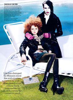 Lily Cole & Marilyn Manson by Miles Aldridge for Vanity Fair Supplement September 2006