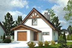 Projekt domu Greta styl z garażem [A] - koszt budowy 205 tys. Architectural House Plans, Home Design Plans, Outdoor Structures, House Design, Cabin, How To Plan, House Styles, Houses, Home Decor