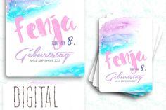 Digitale Downloads - Einladung zum Geburtstag watercolor digital - ein Designerstück von pix-mix bei DaWanda