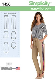 Simplicity Creative Group - Misses' Pull on Skirt in Three Lengths and Pants or Shorts
