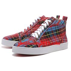 Christian Louboutin Mans Cloth Sneakers Red