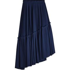 Kenzo Asymmetric Pleated Skirt (381,000 KRW) ❤ liked on Polyvore featuring skirts, blue, pleated skirts, frill skirt, colorblock pleated skirt, blue ruffle skirt and frilly skirt
