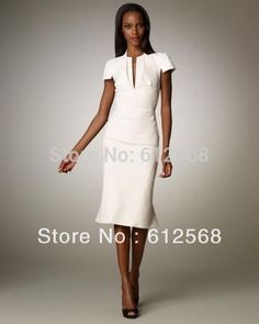 Custom made Short Sleeves Knee-length Office Ladies Work Pencil Dress. White, Black V-neck Sheath Dresses Plus size   MR051