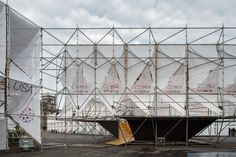MMX uses scaffolding and canvas to build a cluster of origami-like pavilions in Mexico City. Temporary Architecture, Modern Architecture, Architecture Diagrams, Membrane Structure, Temporary Structures, México City, Facade Design, Building Materials, Stand Design