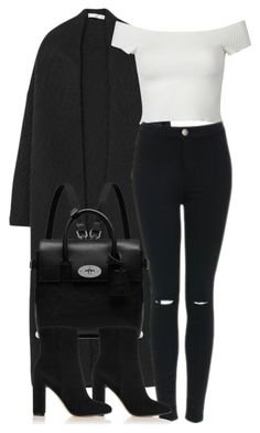 """""""Untitled #4349"""" by maddie1128 ❤ liked on Polyvore featuring MANGO, WithChic, Topshop, Mulberry and Gianvito Rossi"""