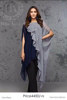 Fashion Tips Diy blue and grey chiffon overlapping top with silver and blue motive chatta on grey part By Hiba Asim Pakistani Dresses Casual, Indian Fashion Dresses, Dress Indian Style, Pakistani Dress Design, Indian Designer Outfits, Casual Dresses, Dresses Dresses, Dresses Online, Girls Dresses