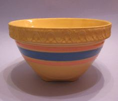Vintage McCoy Yellow Ware Pink and Blue Stripe Bowl | eBay