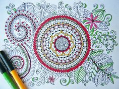 Coloring Page Printable - Zendoodle, Doodle Art - Zentangle Inspired Coloring - Zendoodle - Instant Download - Coloring Page J