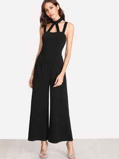 Caged Front Solid Wide Leg Jumpsuit -SheIn(Sheinside)
